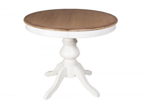Τραπέζι Μασίφ Ξύλινο επεκτεινόμενο σε διχρωμία λευκό και εκρού. 100x100x78 εκ