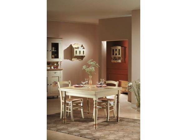 Τραπέζι Μασίφ Ξύλινο επεκτεινόμενο σε χρωματισμό avorio με πατίνα 100x100x80 εκ.