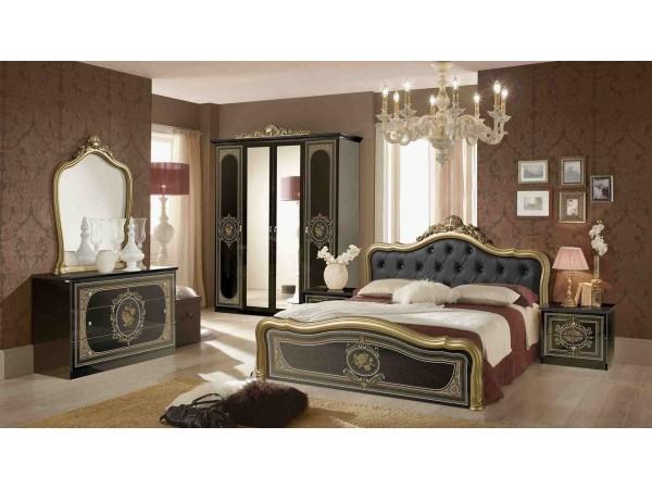 Κλασικό Υπνοδωμάτιο ALICE BLACK GOLD με καπιτονέ
