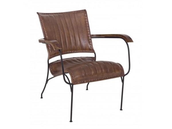 Πολυθρόνα από γνήσιο δέρμα και μεταλλική δομή ASHANTI 78x75x74 εκ.
