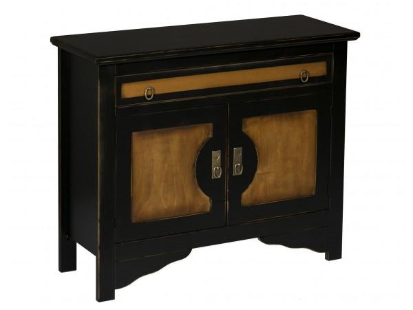 Μπουφές BICOLORE SMALL σε μασίφ ξύλο με Κερασιά και Μαύρο Αντικέ χρωματισμό 100x37x84 εκ.