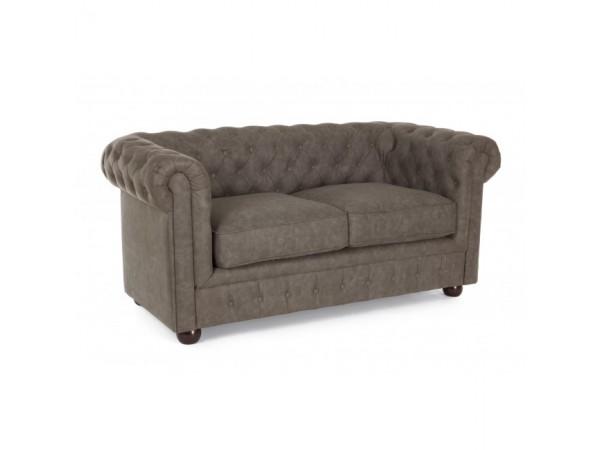Καναπές Chesterfield Vintage Brown σε οικολογικό δέρμα 2 καθισμάτων 187x87x74 εκ.