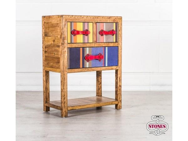 Συρταριέρα COLOURS από μασίφ ξύλο με 3 συρτάρια 60x32x80 εκ.
