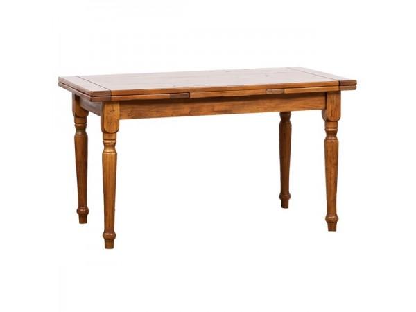 Τραπέζι Μασίφ Επεκτεινόμενο Ξύλινο Country  σε απόχρωση καρυδιάς 180x90x80 εκ.