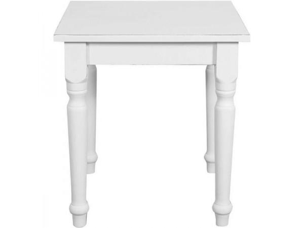 Τραπέζι Μασίφ Ξύλινο Country Τετράγωνο σε απόχρωση λευκό αντικέ 70x70x78 εκ.