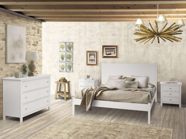 Κλασικό Υπνοδωμάτιο Country Style από ξύλο σε λευκό ματ χρωματισμό
