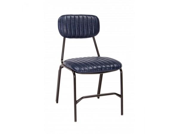 Καρέκλα από οικολογικό δέρμα και μεταλλικά πόδια DEBBIE BLUE 44x55x73 εκ.
