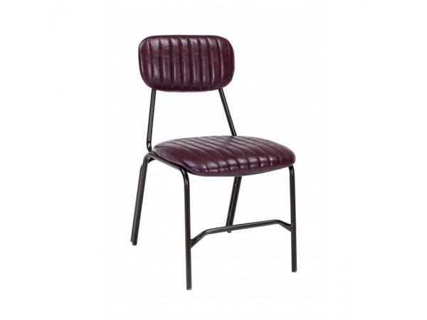 Καρέκλα από οικολογικό δέρμα και μεταλλικά πόδια DEBBIE BORDEAUX 44x55x73 εκ.
