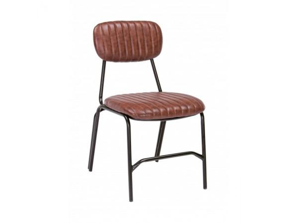 Καρέκλα από οικολογικό δέρμα και μεταλλικά πόδια DEBBIE DARK ORANGE 44x55x73 εκ.