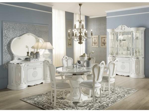 Κλασική Τραπεζαρία με 6 καρέκλες GRETA BIANCO με βαφή λάκας