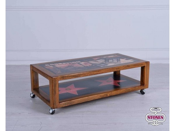 Τραπεζάκι σαλονιού HOLLYWOOD από μασίφ ξύλο 100x50x30 εκ.
