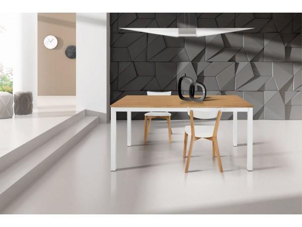 Τραπέζι Ξύλινο Επεκτεινόμενο Modern Collection Design σε Δρυς χρωματισμό το καπάκι και λευκά μεταλλικά πόδια 110x70 εκ.