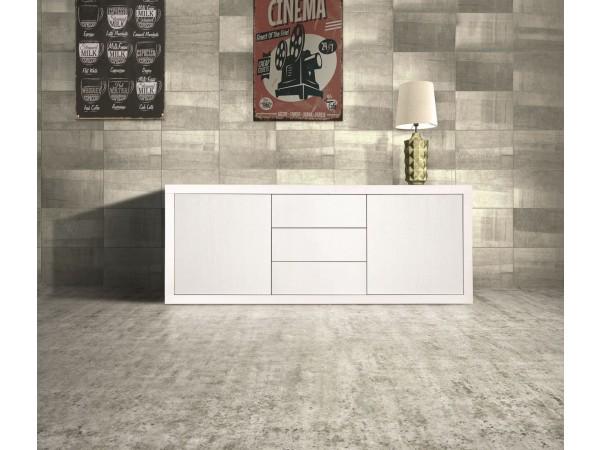 Μπουφές με 2 Πόρτες και 3 συρτάρια σε λευκό χρωματισμό 186x45x75 εκ.