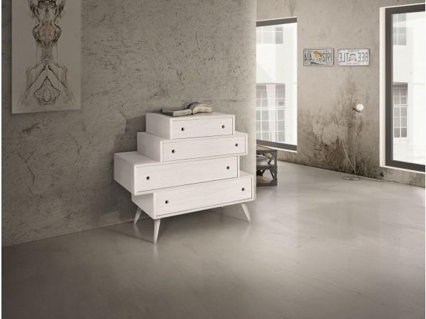Συρταριέρα Δρυς Ξύλινη Modern Collection Design σε λευκό χρωματισμό με 4 συρτάρια 110x45x95 εκ.