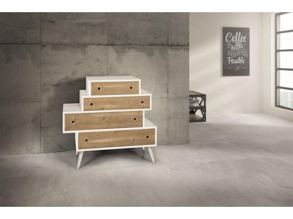 Συρταριέρα Δρυς Ξύλινη Modern Collection Design σε φυσικό και λευκό χρωματισμό με 4 συρτάρια 110x45x95 εκ.