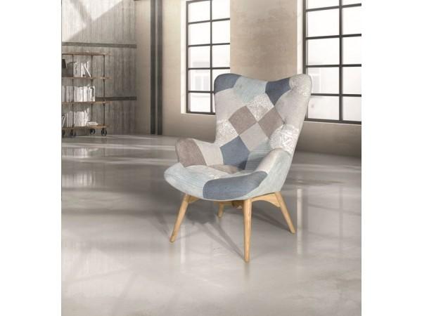 Πολυθρόνα Υφασμάτινη Blue Multicolor