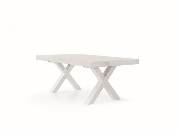 Τραπέζι Ξύλινο Rovere Consumato White με 2 επεκτάσεις 180X100