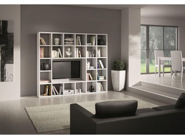 Επιπλοσύνθεση Ξύλινη Modern Style σε bianco frassinato χρωματισμό 261x30x218 εκ.