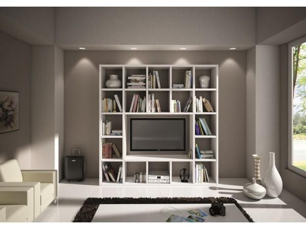 Επιπλοσύνθεση Ξύλινη Modern Style σε bianco frassinato χρωματισμό 218x30x218 εκ.