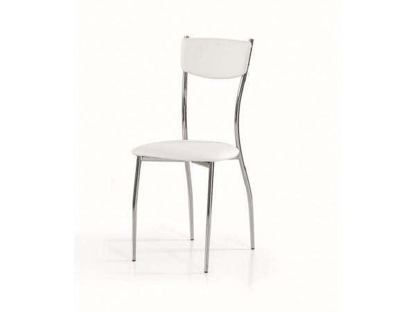 Καρέκλα White με μεταλλικά πόδια και δομή.