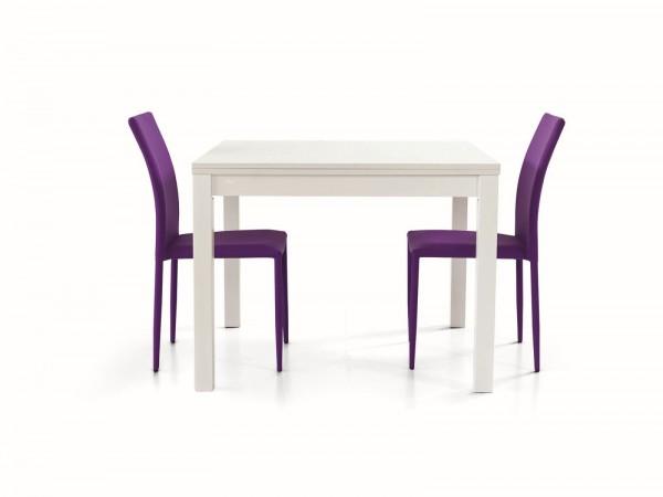 Τραπέζι από ξύλο επεκτεινόμενο modern style σε bianco frassinato χρωματισμό 100x100x76 εκ.