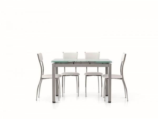 Τραπέζι επεκτεινόμενο modern style με μεταλλικά πόδια και τζάμι σε γκρι ματ. 110x70x76 εκ.