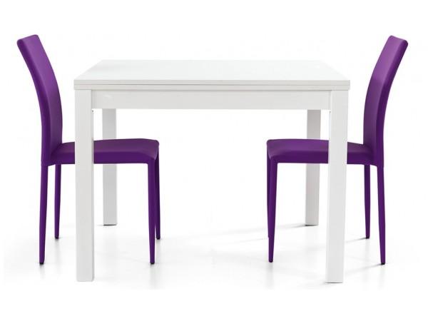 Τραπέζι από HPL επεκτεινόμενο modern style σε bianco frassinato χρωματισμό 90x90x76 εκ.