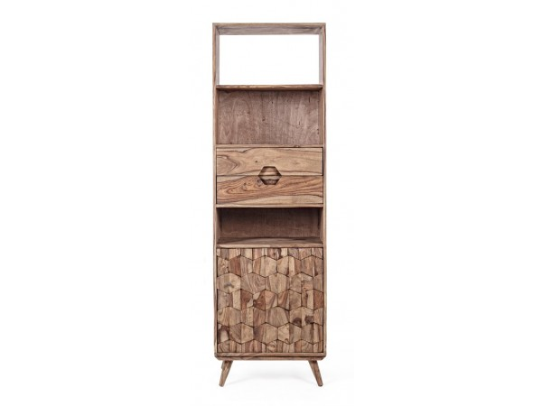 Βιβλιοθήκη μικρή από ξύλο KANT με 1 πόρτα και 2 συρτάρια 57.5x40x194 εκ.