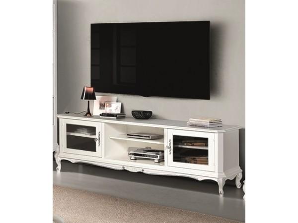 Έπιπλο τηλεόρασης LACCATO σε μασίφ ξύλο με λευκή λάκα και ασημί λεπτομέριες 150x43x53 εκ.