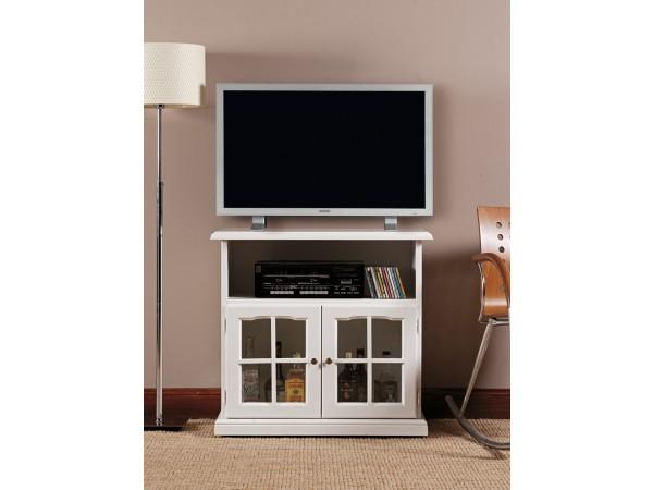 Έπιπλο τηλεόρασης LACCATO σε μασίφ ξύλο με λευκή λάκα με 2 πόρτες τζάμι 80x40x80 εκ.
