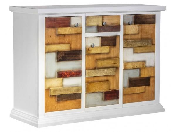 Μπουφές Ξύλινος Loft Bianco με 3 πόρτες και 1 συρτάρι 122x40x87 εκ.