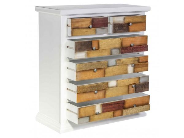 Συρταριέρα Ξύλινη Loft Bianco 4+2 συρτάρια 88x40x100 εκ.