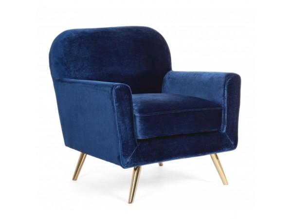 Πολυθρόνα LYDIA BLU VELVET σε μπλε χρωματισμό 80x75x93 εκ.