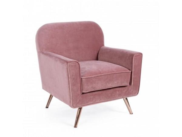 Πολυθρόνα LYDIA BLUSH VELVET σε ροζ χρωματισμό 80x75x93 εκ.