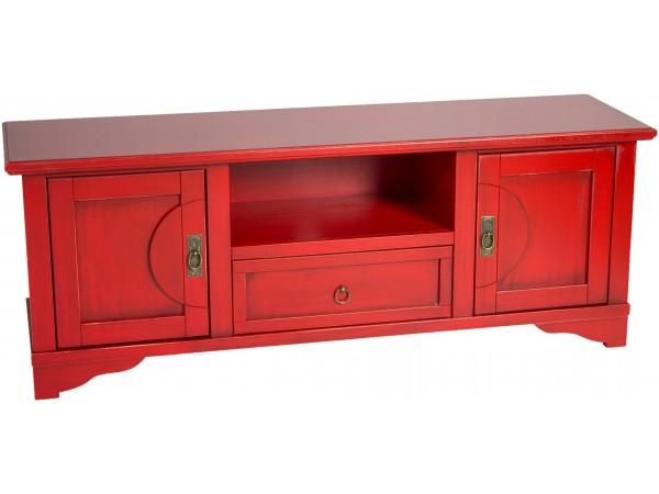 Έπιπλο τηλεόρασης ROSSANO σε μασίφ ξύλο Λεύκας με Κόκκινο και Μαύρη Πατίνα χρωματισμό 146x40x53 εκ.