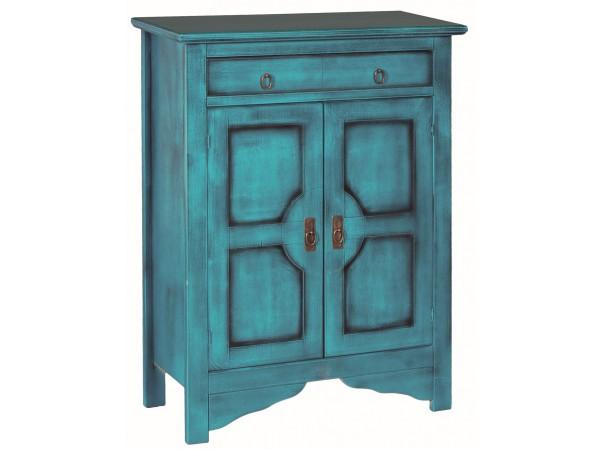 Μπουφές MELZO σε μασίφ ξύλο με Τυρκουάζ Χρωματισμό και Μαύρη Πατίνα με 2 πόρτες και 1 συρτάρι 85x37x115 εκ.