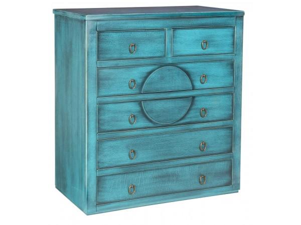 Συρταριέρα MELZO σε μασίφ ξύλο με Τιρκουάζ Χρωματισμό και Μάυρη Πατίνα με 6 συρτάρια 86x40x96 εκ.