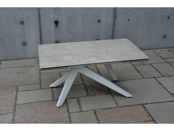 Τραπέζι από κεραμικό γυαλί σε όψη μπετόν επεκτεινόμενο Modern Beton Bianco σε λευκό χρωματισμό 160x90x76 εκ.