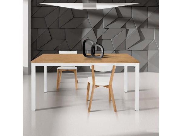 Τραπέζι HPL Επεκτεινόμενο Modern Collection Design σε Δρυς χρωματισμό το καπάκι και λευκά μεταλλικά πόδια 110x70 εκ.