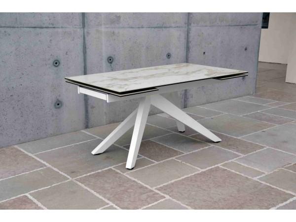 Τραπέζι από κεραμικό γυαλί σε όψη μαρμάρου επεκτεινόμενο Modern Marmo Bianco σε λευκό χρωματισμό 160x90x76 εκ.