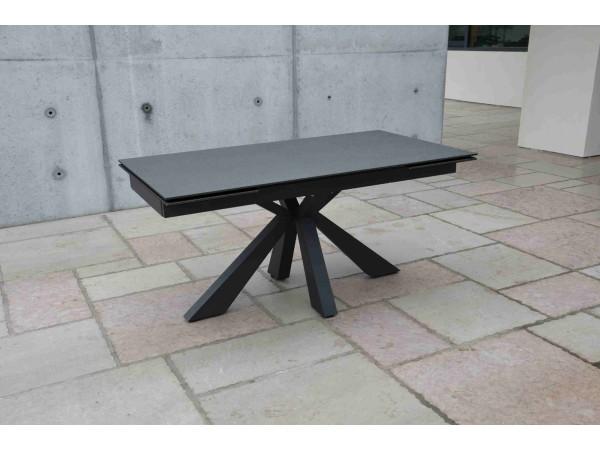 Τραπέζι από κεραμικό γυαλί σε όψη πέτρας επεκτεινόμενο Modern Pietra Nera σε μαύρο χρωματισμό 160x90x76 εκ.