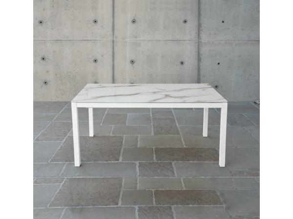 Τραπέζι από γυαλί με τυπογραφία πέτρας επεκτεινόμενο Modern Pietra Serigrafato σε λευκό χρωματισμό 140x90x76 εκ.