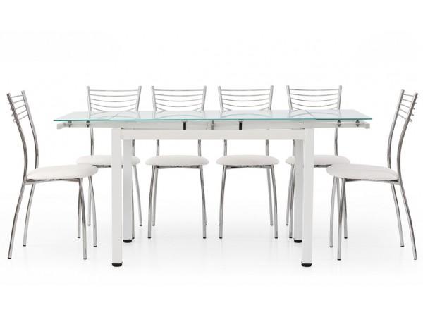 Τραπέζι επεκτεινόμενο modern style με μεταλλικά πόδια και τζάμι σε λευκό ματ 110x70x76 εκ.
