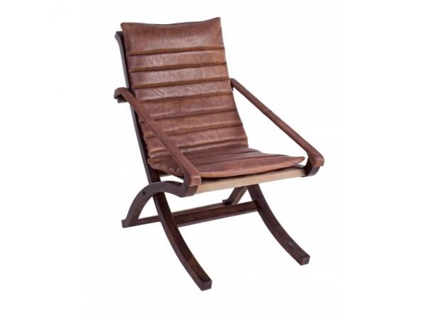 Πολυθρόνα relax από γνήσιο δέρμα και ξύλινη δομή ASHANTI 57x88x89 εκ.