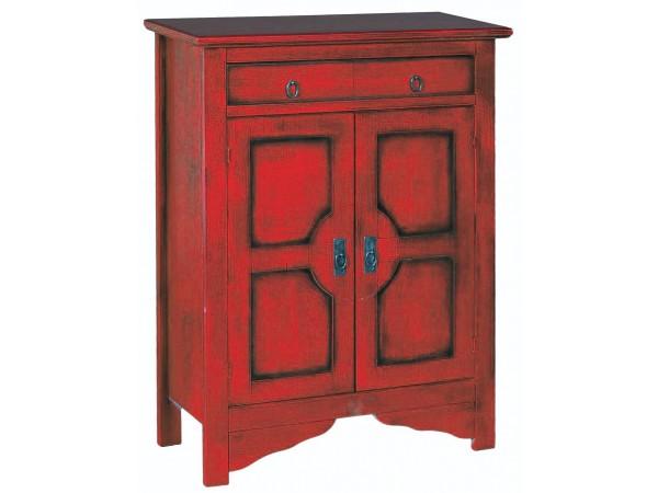 Μπουφές ROSSANO σε μασίφ ξύλο με Κόκκινο Χρωματισμό και Μάυρη Πατίνα με 2 πόρτες και 1 συρτάρι 85x37x115 εκ.