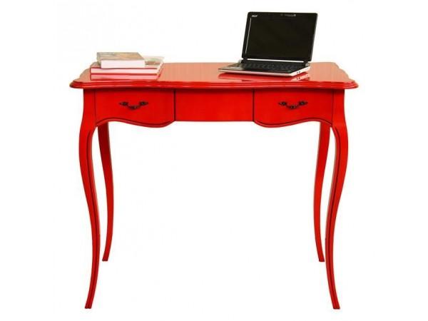 Γραφείο μασίφ ξύλο ROSSO FERRARI σε Κόκκινη γυαλιστερή λάκα με 2 συρτάρια 90x52x76 εκ.