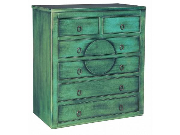 Συρταριέρα VERDE σε μασίφ ξύλο με Πετρόλ Χρωματισμό και Μαύρη Πατίνα με 6 συρτάρια 86x40x96 εκ.