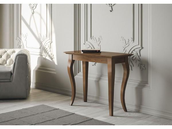 Κονσόλα-Τραπεζαρία Bassano σε μασίφ ξύλο με χρωματισμό καρυδιά αντικέ