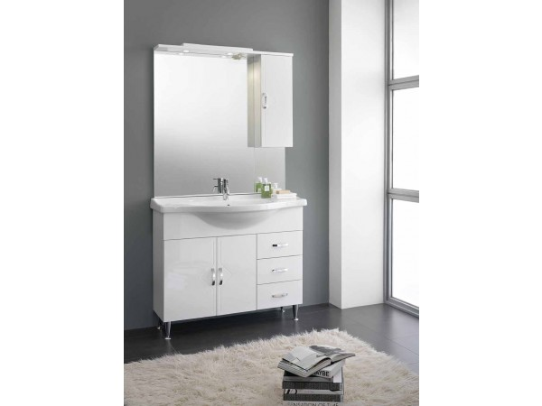 Έπιπλο Μπάνιου CARLA 105 σε λευκό γυαλιστερό χρωματισμό