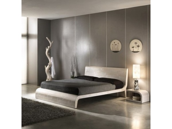 Κρεβάτι WAVE από ξύλο bamboo σε scratch white χρωματισμό.